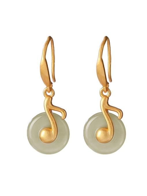 DEER 925 Sterling Silver Jade Geometric Vintage Hook Earring