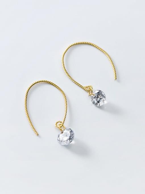 Rosh 925 Sterling Silver Cubic Zirconia Irregular Minimalist Hook Earring 3