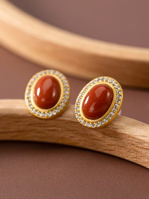 South Red (a pair) 925 Sterling Silver Carnelian Oval Vintage Stud Earring