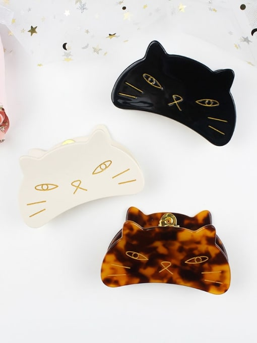HUIYI Cellulose Acetate Cute Cat Zinc Alloy Jaw Hair Claw