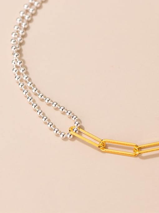 Rosh 925 Sterling Silver Asymmetric Smooth Bead Geometric Minimalist  Bracelet 2