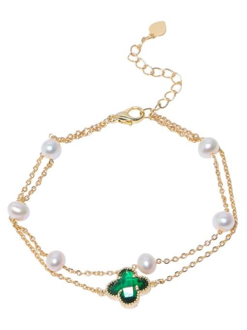 RAIN Brass Freshwater Pearl Flower Vintage Strand Bracelet