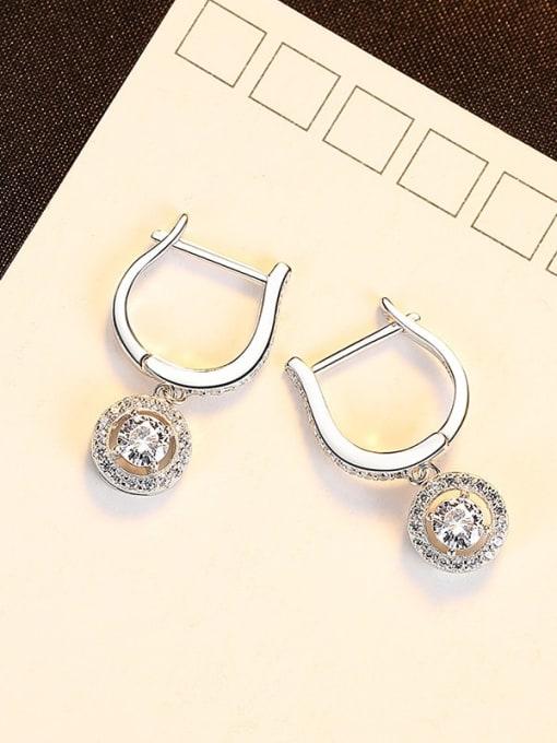 platinum 24J04 925 Sterling Silver Cubic Zirconia Geometric Luxury Huggie Earring