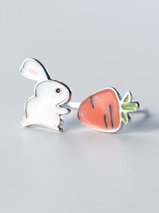Rosh 925 Sterling Silver Enamel  Cute Carrot rabbit  Stud Earring 3