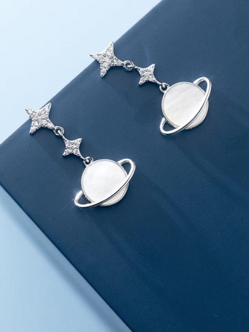 Rosh 925 Sterling Silver Shell Flower Minimalist Drop Earring 3
