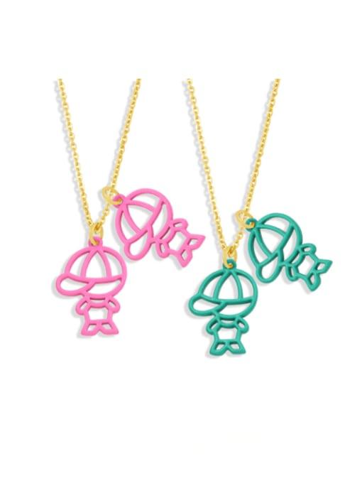 CC Brass Enamel Cute Angel  Pendant Necklace