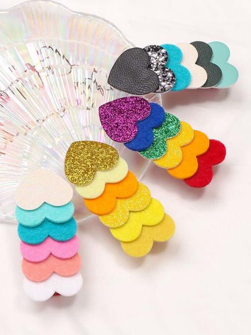 YOKI KIDS Alloy  Fabric Cute Heart Multi Color Hair Barrette 4