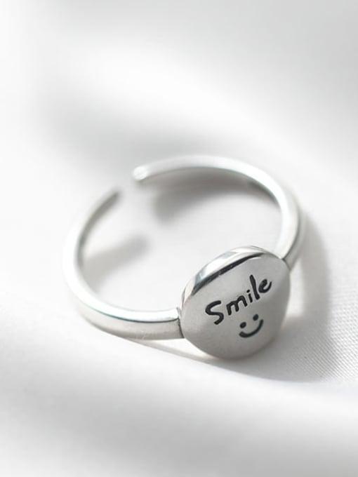 Rosh 925 Sterling Silver Smiley Vintage Band Ring 2