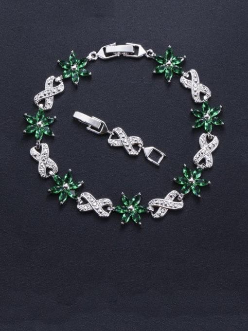 L.WIN Brass Cubic Zirconia Flower Luxury Bracelet 3