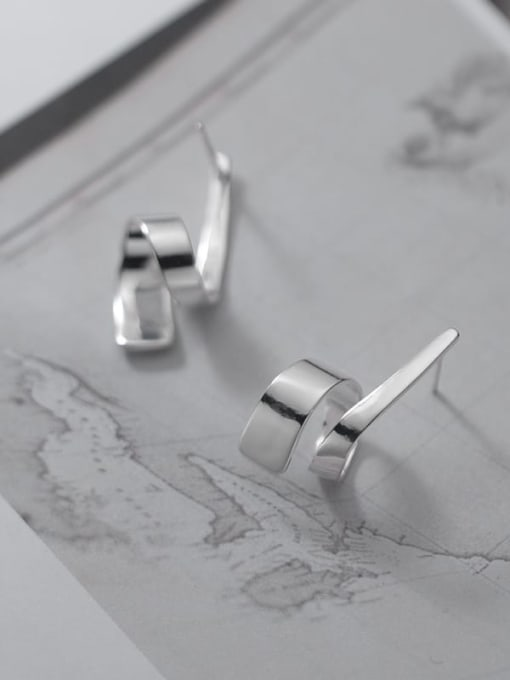 Rosh 925 Sterling Silver Irregular Line Minimalist Stud Earring 2