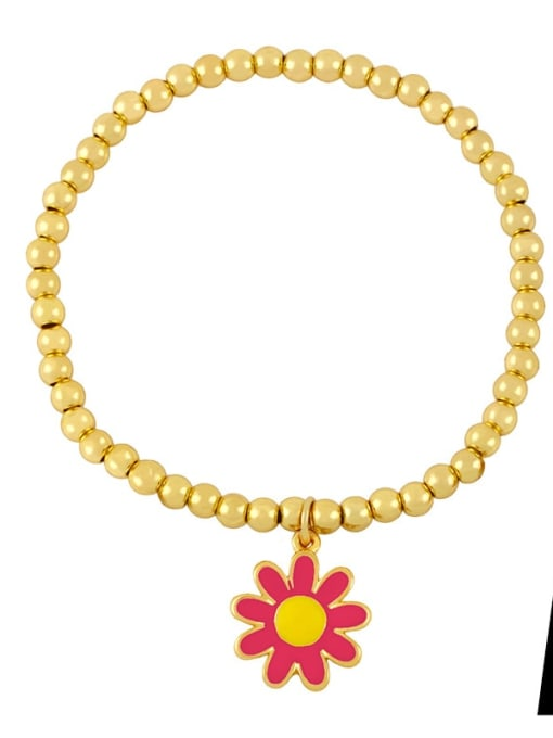 A (safflower) Brass Bead Enamel Flower Hip Hop Beaded Bracelet