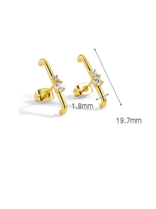 CHARME Brass Cubic Zirconia Geometric Minimalist Stud Earring 3
