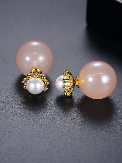 BLING SU Copper Imitation Pearl Round Minimalist Stud Earring 3