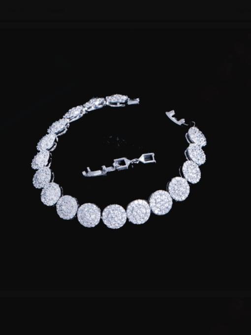 L.WIN Brass Cubic Zirconia Round Luxury Bracelet