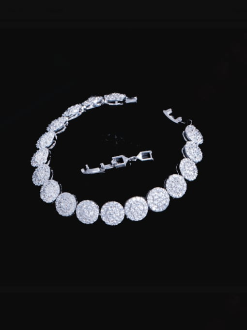 Platinum Brass Cubic Zirconia Round Luxury Bracelet