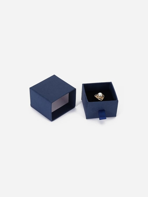 Blue Eco-Friendly Paper Pull Out Jewelry Box For Rings, Small Earrings