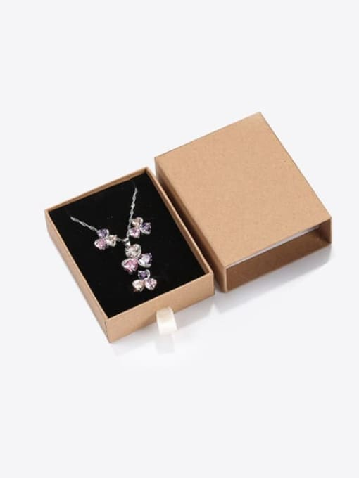 Cowhide Eco-Friendly Paper Pull Out Jewelry Box For Necklaces,Earrings,Brooches