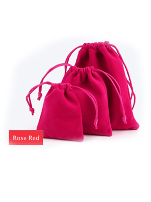 Rose Red Flannel Beam Port Velvet Pouches Bag For Earrings,Rings,Necklaces,Bracelets And Brooches
