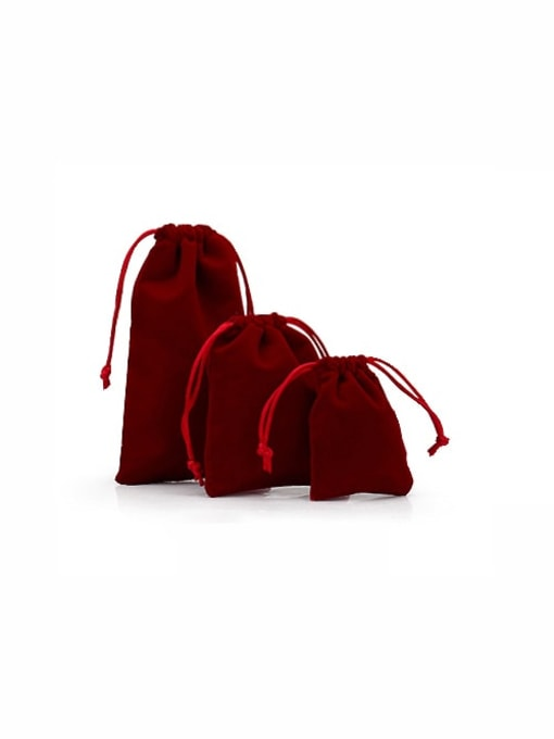 Deep Red Flannel Beam Port Velvet Pouches Bag For Earrings,Rings,Necklaces,Bracelets And Brooches