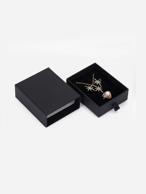 Black Eco-Friendly Paper Pull Out Jewelry Box For Necklaces,Earrings,Brooches