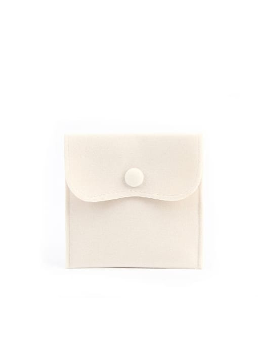 Beige Flannel Buckle Velvet Bag For Earrings,Rings,Necklaces,Bracelets And Brooches