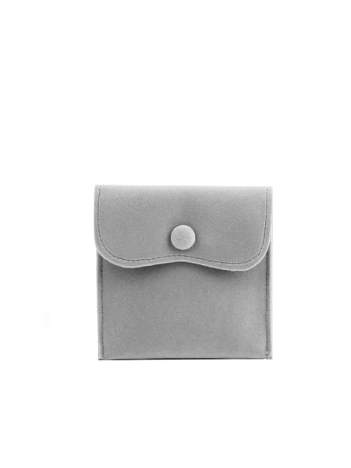 Gray Flannel Buckle Velvet Bag For Earrings,Rings,Necklaces,Bracelets And Brooches