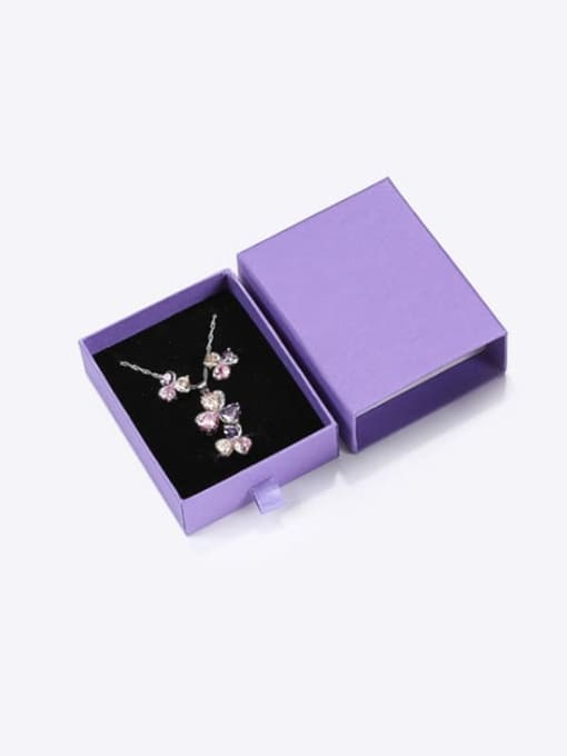 Purple Eco-Friendly Paper Pull Out Jewelry Box For Necklaces,Earrings,Brooches