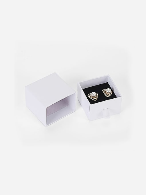 White Eco-Friendly Paper Pull Out Jewelry Box For Rings, Small Earrings