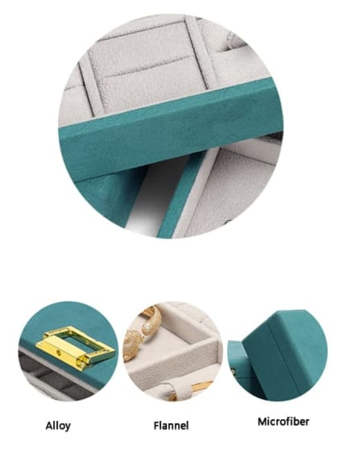 TM Microfiber Flannel 29cm 23cm 5.6cm Button  Jewelry Box For Earrings,Necklaces,Rings,Necklaces And Bacletes 3