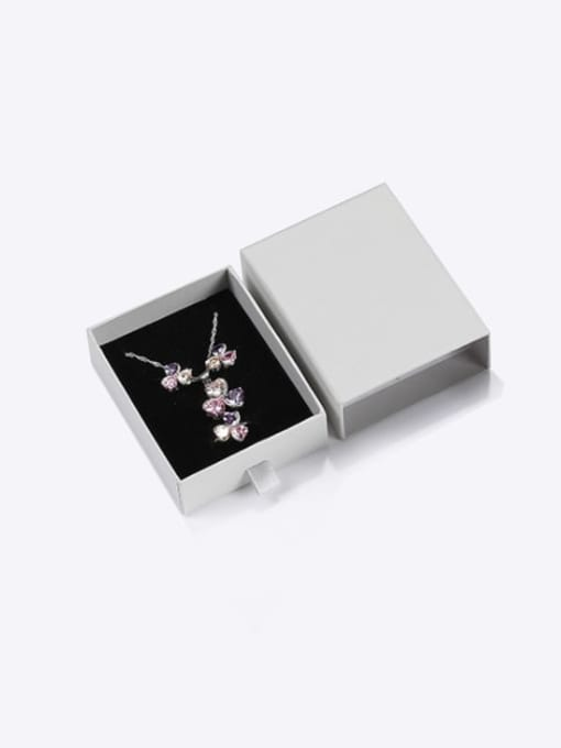Gray Eco-Friendly Paper Pull Out Jewelry Box For Necklaces,Earrings,Brooches