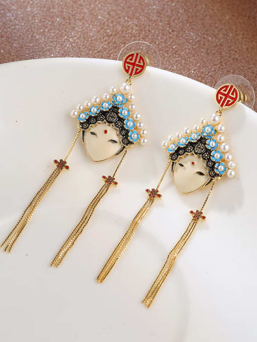 Lin Liang Brass Imitation Pearl Enamel Smiley Minimalist Drop Earring