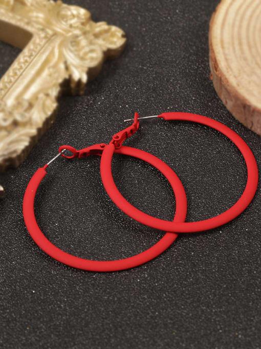 Red Brass Enamel Round Minimalist Hoop Earring