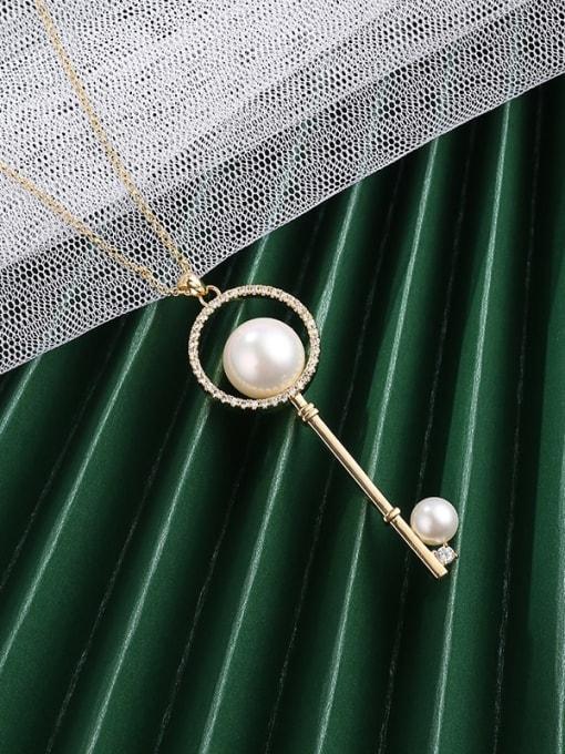 Lin Liang Brass Cubic Zirconia White Key Minimalist Long Strand Necklace 1