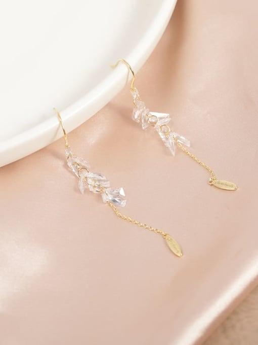 Lin Liang Brass Cubic Zirconia White Tassel Minimalist Drop Earring 0