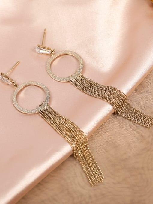 Lin Liang Brass Cubic Zirconia White Tassel Trend Drop Earring 1