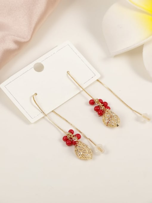 Lin Liang Brass Cubic Zirconia White Plastic Leaf Minimalist Threader Earring 0