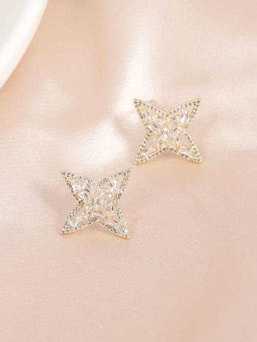 Gold Brass Cubic Zirconia White Star Minimalist Stud Earring
