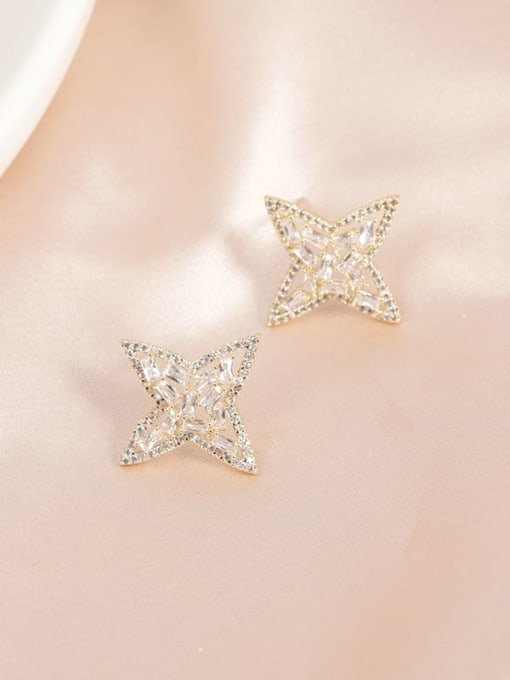 Lin Liang Brass Cubic Zirconia White Star Minimalist Stud Earring