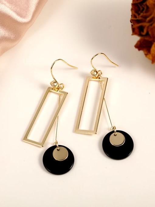 Gold Brass Cubic Zirconia White Geometric Classic Hook Earring
