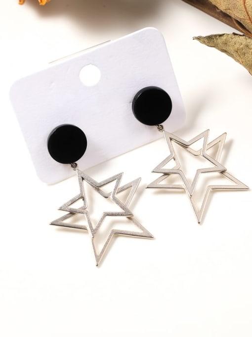 Lin Liang Brass Resin Star Minimalist Drop Earring 0