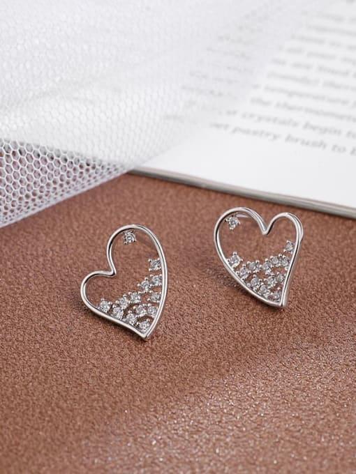 white  Heart Brass Cubic Zirconia White Irregular Dainty Stud Earring