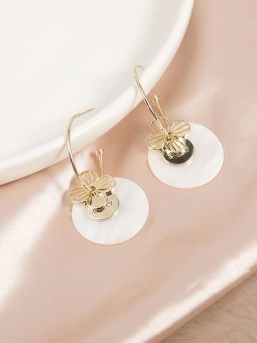 Gold Brass Shell White Round Trend Hoop Earring