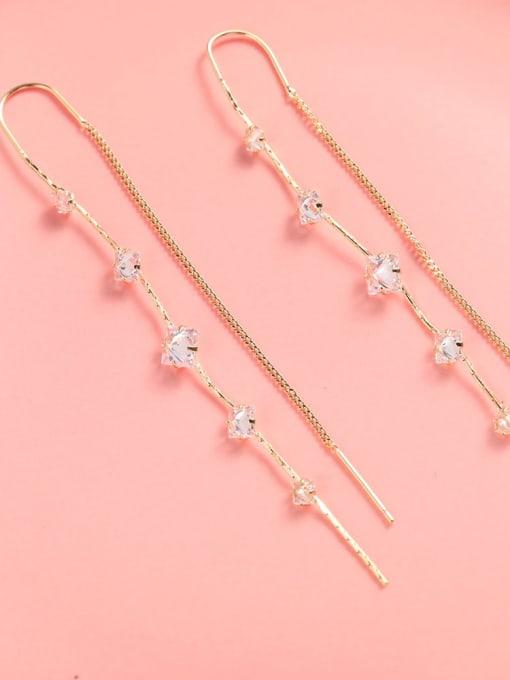 Lin Liang Brass Cubic Zirconia White Tassel Trend Threader Earring