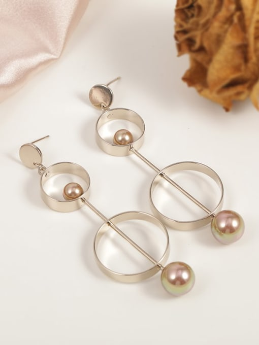 Coffee beads Brass Imitation Pearl White Round Minimalist Drop Earring