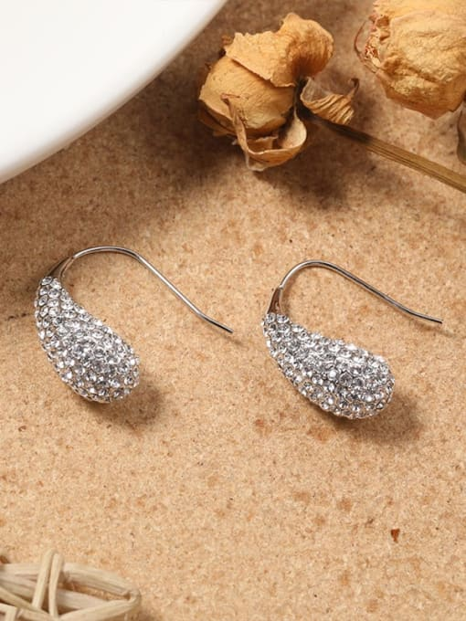 Lin Liang Brass Cubic Zirconia White Irregular Minimalist Cluster Earring 0