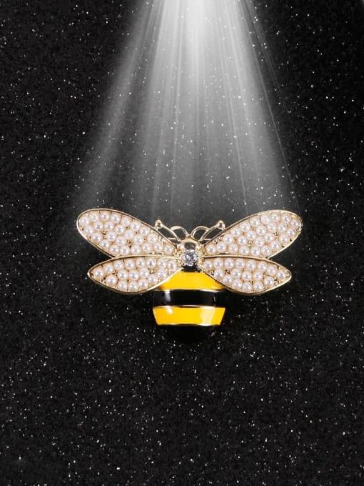 Lin Liang Brass Imitation Pearl White Enamel Bee Classic Brooch