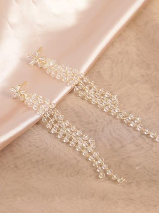 Gold Brass Cubic Zirconia Clear Tassel Classic Drop Earring