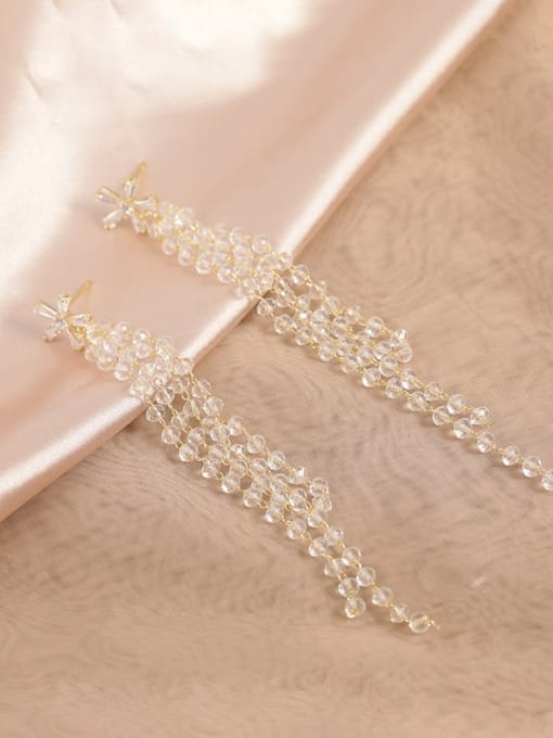 Lin Liang Brass Cubic Zirconia Clear Tassel Classic Drop Earring 0