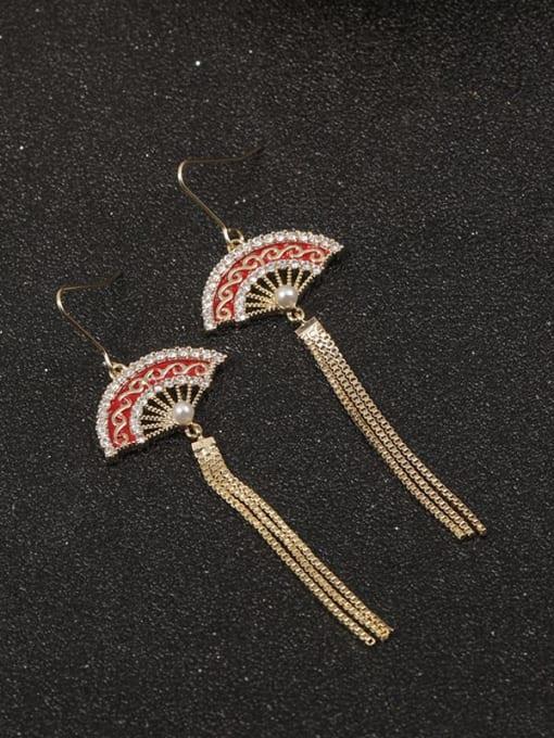Gold Brass Cubic Zirconia White Enamel Vintage Drop Earring