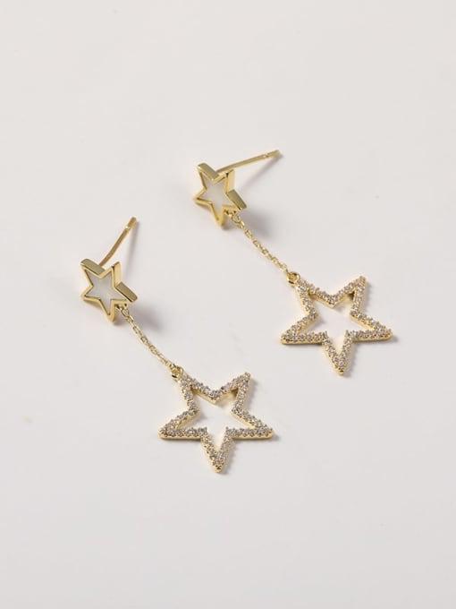 Lin Liang Brass Cubic Zirconia White Enamel Star Minimalist Drop Earring 1